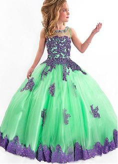 Charming Tulle Jewel Neckline Floor-length Ball Gown Girls' Formal Dress