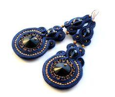 cobalt beauty    soutache earrings  free shipping by KimimilaArt