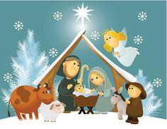 Natividad de historieta con la Sagrada Familia - ilustración de arte vectorial