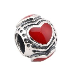 Sterling Silver 925 Red Hearts Threaded Charm Bead..Mothers Day Gift