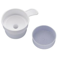 """Ableware 726760001 Collecting Funnel with Filter by Ableware. $11.48. Can be used with or without filter paper for collecting kidney stones, straining urine or retaining undissolved crystals. The 2"""" diameter strainer section has holes 0.025"""" square. The strainer cup is 1/2"""" deep and fits inside the funnel.The funnel fits vessels with a neck opening from 1/4 to 1-7/8"""".. Save 40% Off!"""