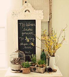 Pretty display and great home decor ideas. I love the chalk board. {Home Decor Idea}