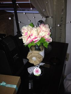 DIY Redneck wine glass pen bouquet with burlap ribbon and lace for birthday gift