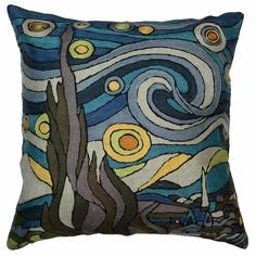 Contemporary Pillowcases -- inspired by Picasso, Miro, Kandinsky, Klimt, and Matisse!  Vibrant, 18 inch, decorative pillow covers hand embroidered of fine wool by highly skilled artisan through fair trade practices. Artisans earn a living wage. Enjoy slight fluctuations in colors and designs as items are hand-crafted.