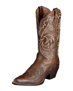 Country Outfitter: Ariat Heritage Western J Toe Wing Tip Boot - Wood