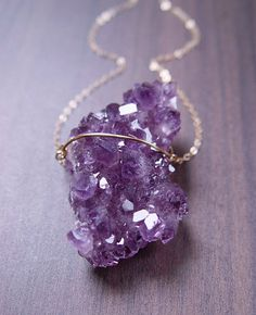 Purple amethyst druzy necklace 14K gold filled