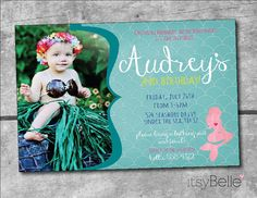Nautical Mermaid Under the Sea Birthday Party Collection  PRINTABLE invitation by ItsyBelle on Etsy Pink Aqua