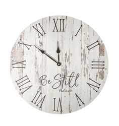 This analog clock rely on the beauty and rhythm of tradition.It features a distressed backdrop paired with vintage-inspired hour and minute hands. There is also a pocket mount for hanging, and requires one AA battery (not included). Rustic Wall Clocks, Farmhouse Wall Clocks, Wood Clocks, Antique Clocks, Plywood Furniture, Rustic Furniture, Furniture Design, Furniture Redo, Chair Design