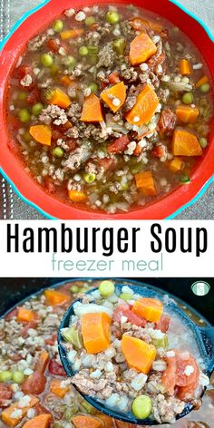 This hearty homemade hamburger soup can be made ahead as a freezer meal. Great comfort food and an easy recipe. Best Freezer Meals, Dump Meals, Easy Family Meals, Freezer Cooking, Crock Pot Cooking, Hamburger Freezer Meals, Cooking Tips, Easy Meat Recipes, Popular Recipes