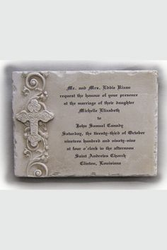 custom wedding invitation stone plaque cross horizontal celebrate faith