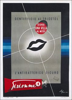 Dentifricio GI.VI.Emme-Sepo (Severo Pozzati), 1951 Dental, Vintage Advertisements, Ads, Vintage Italian, Vintage Posters, Red And White, Advertising, Creme, Photography