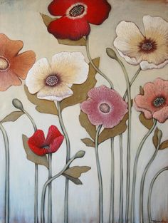 original floral painting by Majart, $575.00