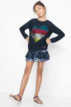 """Your kids will have all kids of love for this long-sleeved top! Namely, multicolored-sequin love. FInd it as part of our SS16 """"Learn"""" collection."""