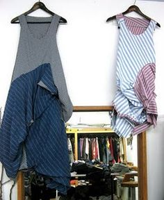 Ellie Mucke dress made from recycled men's shirts