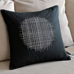 The marketing thing aside, you can create this sashiko style pillow yourself with fabric, a pillow form, and sashiko embroidery. Japanese Embroidery, Modern Embroidery, Embroidery Art, Embroidery Stitches, Embroidery Patterns, Pillow Embroidery, Shashiko Embroidery, Boro Stitching, Japanese Textiles