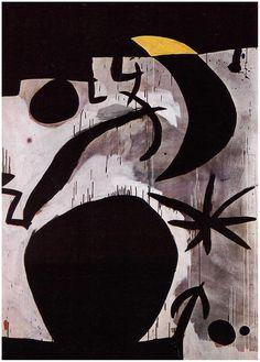 Femme et oiseaux dans la nuit - Joan Miró (1974)