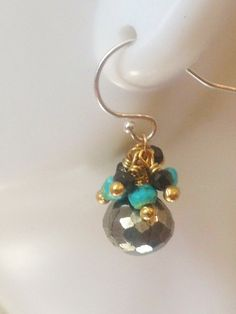 Gold Pyrite Onion Briolette Turquoise and by NakedPlanetJewelry, $48.00
