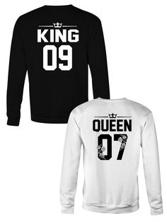 KING & QUEEN matching couple crewneck sweatshirts, King Queen couples sweatshirts, KIng Queen custom number sweatshirts, Sweatshirts for couples, Matching outfits for couples