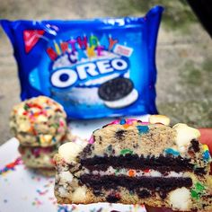 Birthday Cake Oreo Stuffed Funfetti Cookies