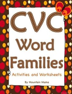 Over 150 pages of worksheets and activities for 19 CVC word families are in this packet!  Perfect for kindergarten and first grade.