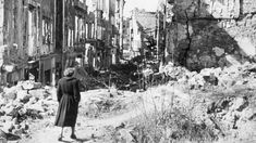 Woman alone in ruined Drezden, 1945