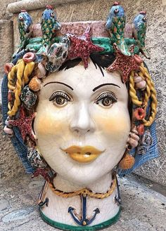 Italian ceramic head planter with fish by ItalianBespokeArt