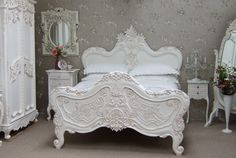 Shabby Chic bedroom. There is nothing shabby about it only Chic. Our beautiful Baroque bed from our baroque/rococo collection of ornately carved furniture.