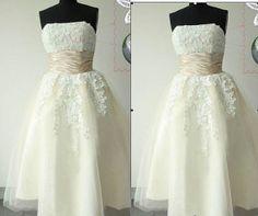 White / Ivory short wedding dress, lace Bridal Gown, short party dress formal dress, tea length weding dress 123.00