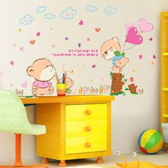 Aliexpress.com : Buy 2016 Cartoon lovely cute bear Wall Stickers Happiness is simple Wall Decals for Kids Rooms Bedroom Nursery room…