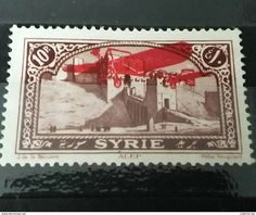 RARE 10 P SYRIA GRAND LIBAN 1926 WAR OVERPRINT RED PLANE UNUSED/NEUF/MINT SUPERB STAMP Timbre - Syria