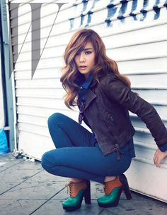 Tiffany (SNSD) for 'W Magazine'. Has a chic urban look to it.