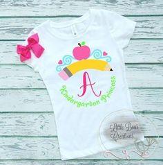 ($14 DEAL) Back to School Princess Grade Shirt including a Matching Bow school shirt sale princess school shirt tiara school  kindergarten school shirt 1st grade princess shirt