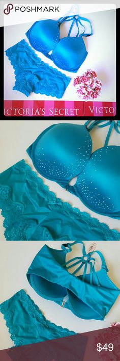 New! Victoria's Secret bra and panty set 32ddd New with tags! Gorgeous Victoria's Secret pushup bra with strappy back and sparkle detail! Front close, pushup very sexy style. Panty, size small.  Bundle using the bundle feature and save! Victoria's Secret Intimates & Sleepwear Bras