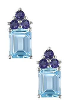 Emerald Cut Sky Blue Topaz & Iolite Cluster Earrings