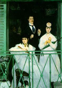 """Manet 1868-9 """"El balcón"""" Contrastes protagonizados por el color blanco en los vestidos de las mujeres. Captación de momentos cotidianos."""