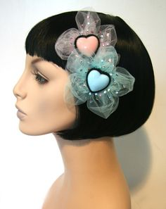 Fabulous Tulle Heart Sparkle Hair Flower Clip by CutieDynamite, $22.00