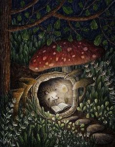 Фото Ёжик уютно устроился в стволе дерева и читает книжку Teddy Bear, Christmas Ornaments, Holiday Decor, Toys, Animals, Painting, Good Night, Home Decor, Xmas Ornaments