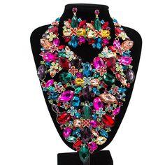 Boutiquei Big Jewelry Sets For Party Wedding Enamel Jewelry Austrian Crystal Set