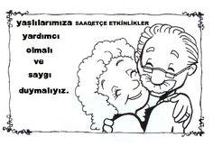 Yaşlılar Haftası Cartoon, Education, Math, Comics, School, Painting, Family Day, Note Cards, Printables