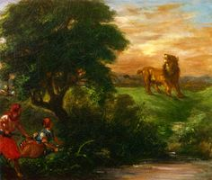 """The Lion Hunt"" -- 1859 -- Eugene Delacroix -- French -- Oil on canvas -- Musee d'Orsay, Paris."