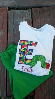 Very Hungry Caterpillar appliqued shirt with green by MunskerRoo, $37.00