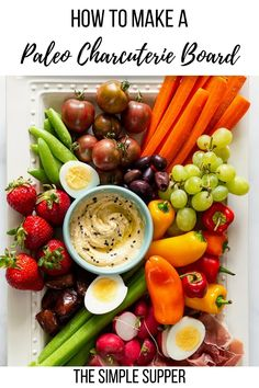 How to make an easy paleo charcuterie board! Learn how to create a beautiful paleo charcuterie board without blowing your budget! Easy tips to adapt to any size appetizer board for any party! Paleo Appetizers, Appetizers For Party, Appetizer Recipes, Supper Recipes, Clean Eating Snacks, Healthy Snacks, Simple Snacks, Whole 30 Diet, Healthy Halloween