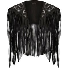 River Island Black laser cut fringed cape (¥2,745) ❤ liked on Polyvore featuring outerwear, jackets, sale, river island, black cape coat, fringed cape, cape coat and black cape
