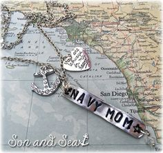 US Navy hand stamped US Navy Mom charm necklace by Son and Sea Free US shipping