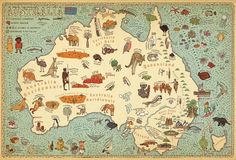 This playful hand-drawn map of Australia by graphic designers Aleksandra Mizielinska and Daniel Mizielinski is intended for younger audiences, and it spotlights exactly what most kids want to know about a country: its unique animals and weird foods. Walter Crane, Pictorial Maps, Art Carte, World History Lessons, World Street, Australia Map, Map Globe, Up Book, Vintage Maps