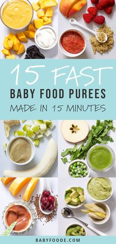 baby things Do you want to learn how to make your own baby food purees but dont know where to start Start here! 15 homemade baby food purees that you can make in under 15 minutes. These purees are easy, healthy, nutritious, and most of all delicious! Baby Food Recipes 6 9, Healthy Baby Food, Pureed Food Recipes, Healthy Recipes, Food Baby, Quick Recipes, Baby Food Chicken, Chicken Recipes For Babies, 4 Month Baby Food