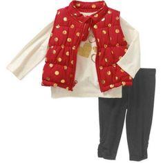 Healthtex Newborn Baby Girls' Foil Vest, Top, & Leggings 3 Piece Set, Newborn Girl's, Size: 0 - 3 Months, Red