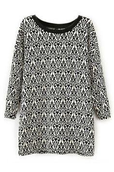 ROMWE | Totem Print Long Sleeves Loose T-shirt, The Latest Street Fashion