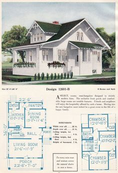 Approx vintage bungalow with large living/dining spaces downstairs an. Approx vintage bungalow with large living/dining spaces downstairs and bedchambers upsta Bungalow House Plans, Small House Plans, House Floor Plans, Bungalow Homes, Vintage House Plans, Vintage Homes, Residential Architecture, Pavilion Architecture, Dreams