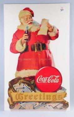 Lot # : 368 - 1945 Coca - Cola Santa Stand Up Sign.